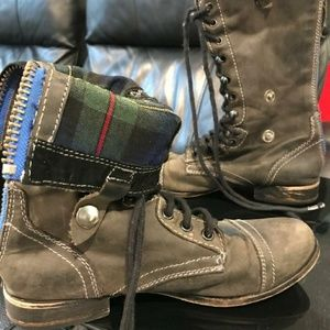 Steve Madden real leather combat boots